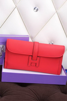 Hermes Jige Clutch Bag Calfskin Leather H258 Red