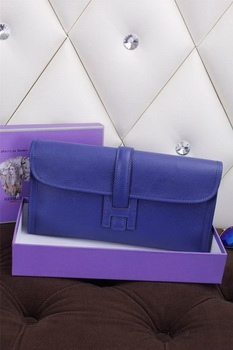 Hermes Jige Clutch Bag Calfskin Leather H258 Royal