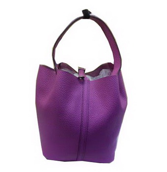 Hermes Picotin Lock MM Bag in Grainy Leather H610M Purple