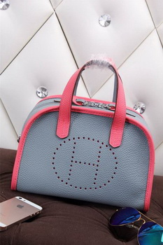 Hermes mini Boston Bag Grainy Leather H26 Blue&Rosy