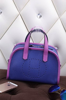 Hermes mini Boston Bag Grainy Leather H26 Blue