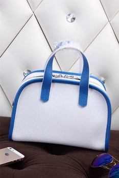 Hermes mini Boston Bag Grainy Leather H26 White&Blue