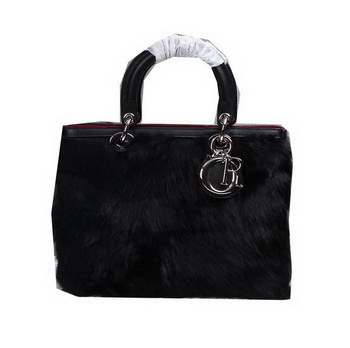 Dior Diorissimo Bags in Rabbit Hair D0902 Black