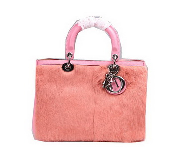 Dior Diorissimo Bags in Rabbit Hair D0902 Pink