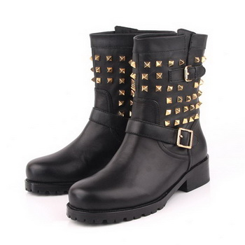 Valentino Sheepskin Leather Ankle Boot VT170 Black
