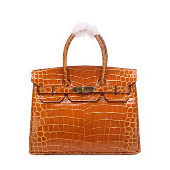 Hermes Birkin 30CM Tote Bags Wheat Iridescent Croco Leather Gold