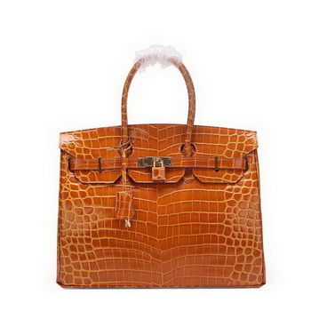 Hermes Birkin 35CM Tote Bag Wheat Iridescent Croco Leather Gold
