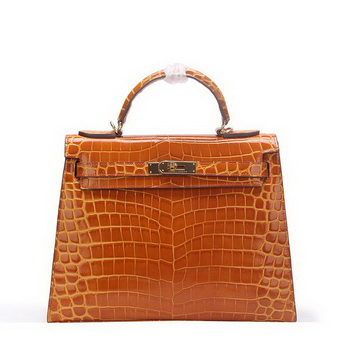 Hermes Kelly 32cm Shoulder Bag Wheat Croco Patent Leather K32 Gold