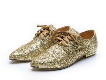 miu miu Casual Shoes Sequins Leather M314 Gold