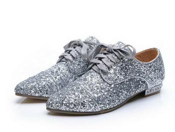 miu miu Casual Shoes Sequins Leather M314 Silver