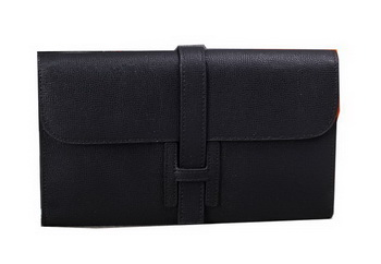 Hermes Jige Clutch Bag Calfskin Leather H8057 Black