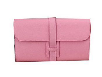 Hermes Jige Clutch Bag Calfskin Leather H8057 Pink