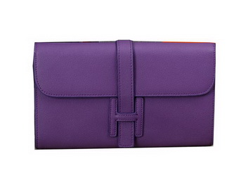Hermes Jige Clutch Bag Calfskin Leather H8057 Purple