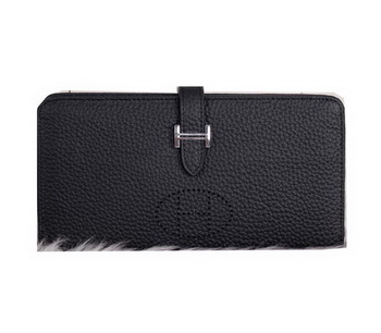 Hermes Bearn Japonaise Clutch Grainy Leather H9011 Black