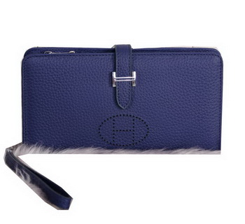 Hermes Bearn Japonaise Clutch Grainy Leather H9011 Royal
