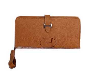 Hermes Bearn Japonaise Clutch Grainy Leather H9011 Wheat