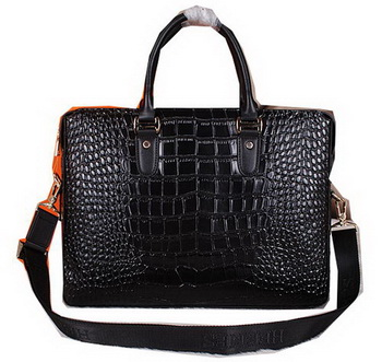 Hermes Briefcase Croco Leather H3856 Black