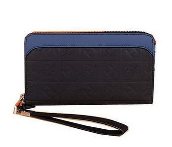 Hermes Calfskin Leather Clutch H66165 Black&Blue