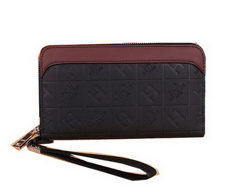 Hermes Calfskin Leather Clutch H66165 Black&Maroon