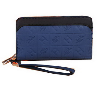 Hermes Calfskin Leather Clutch H66165 Blue&Black