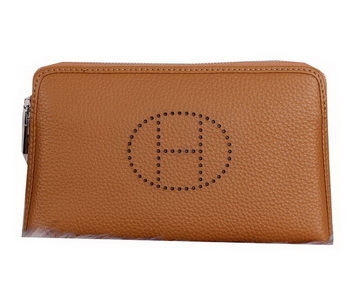 Hermes Grainy Leather Clutch H2281 Brown