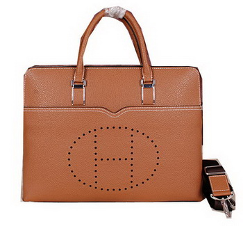 Hermes Briefcase Original Calf Leather HM8011 Wheat
