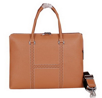 Hermes Briefcase Original Calf Leather HM8022 Wheat