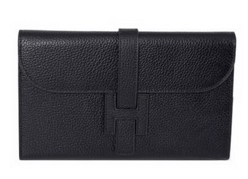 Hermes Jige Clutch Bag Calfskin Leather HQ864 Black