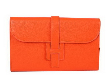 Hermes Jige Clutch Bag Calfskin Leather HQ864 Orange