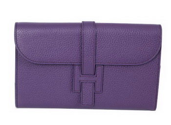 Hermes Jige Clutch Bag Calfskin Leather HQ864 Purple