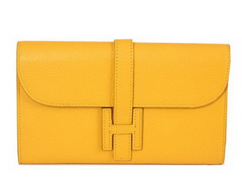 Hermes Jige Clutch Bag Calfskin Leather HQ864 Yellow