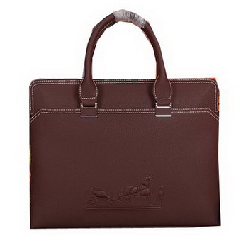 Hermes Briefcase Original Calf Leather HM98291 Brown