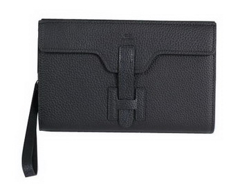Hermes Jige Clutch Bag Calfskin Leather HQ8059 Black