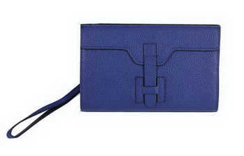 Hermes Jige Clutch Bag Calfskin Leather HQ8059 Blue