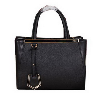 Fendi 2Jours Tote Bag Original Leather 8B8935 Black