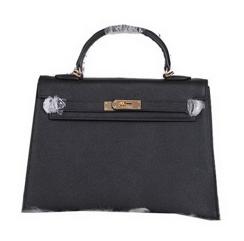 Hermes Kelly 32cm Shoulder Bags Grained Leather Black