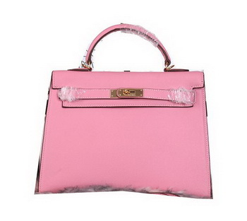 Hermes Kelly 32cm Shoulder Bags Grained Leather Pink