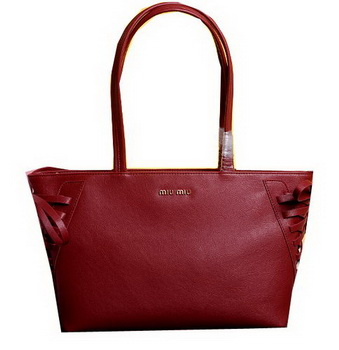 miu miu Grainy Leather Tote Bag 86333 Red