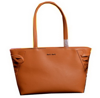 miu miu Grainy Leather Tote Bag 86333 Wheat