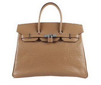 Hermes Birkin 35CM Tote Bags Apricot Ostrich Leather H6089 Silver