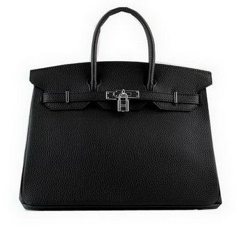 Hermes Birkin 35CM Tote Bags Black Grainy Leather H-35 Silver