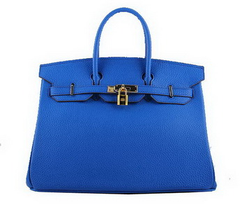 Hermes Birkin 35CM Tote Bags Blue Grainy Leather H-35 Gold