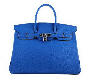 Hermes Birkin 35CM Tote Bags Blue Grainy Leather H-35 Silver