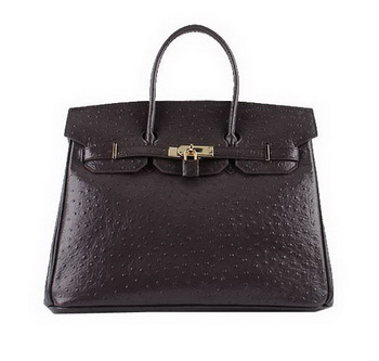 Hermes Birkin 35CM Tote Bags Dark Brown Ostrich Leather H6089 Gold