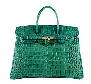 Hermes Birkin 35CM Tote Bags Green Croco Leather H6089 Gold