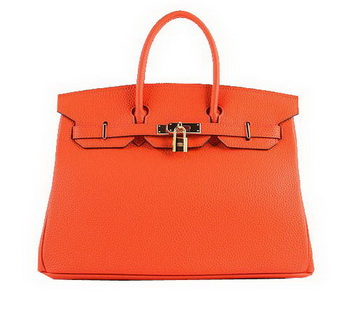 Hermes Birkin 35CM Tote Bags Orange Grainy Leather H-35 Gold