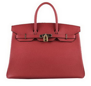 Hermes Birkin 35CM Tote Bags Red Grainy Leather H-35 Gold