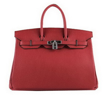 Hermes Birkin 35CM Tote Bags Red Grainy Leather H-35 Silver