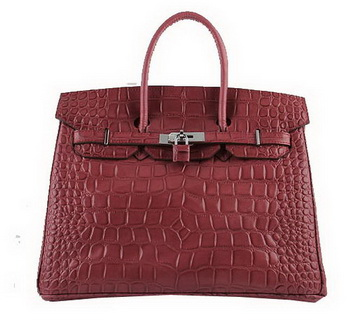 Hermes Birkin 35CM Tote Bags Red Croco Leather H6089 Silver