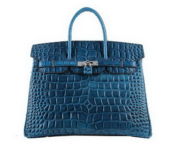 Hermes Birkin 35CM Tote Bags Royal Croco Leather H6089 Silver